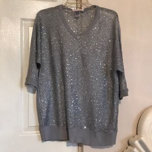 NWOT Absolutely Sequin Silver Sheer Top sz 1X